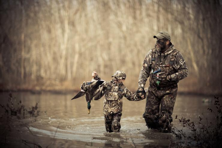 father son duck hunting